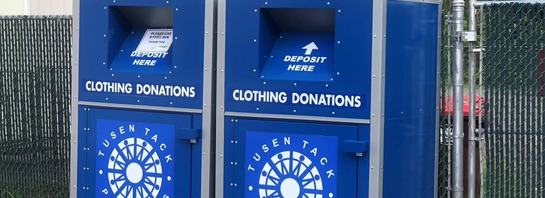 Tusen Tack Thrift Store donation bins, Braham, Minnesota